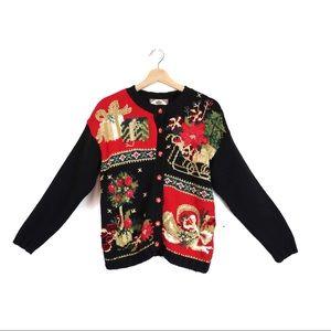 TIARA Petites Christmas Cardigan Black Knit Small